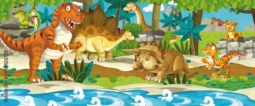 Fotografie, Obraz  Cartoon dinosaur land - illustration for the children