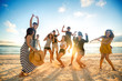 canvas print picture - Happy people on beach