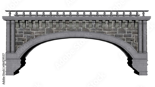 Poster Brug Ancient bridge - 3D render