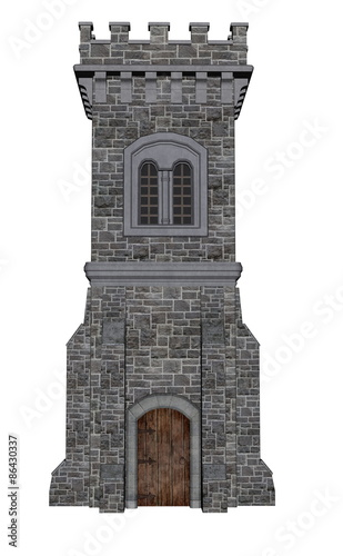 Square castle tower - 3D render Wall mural