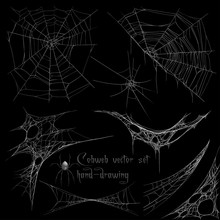 Hand Drawing Cobweb Set