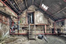 Metal Staircase In An Abandone...
