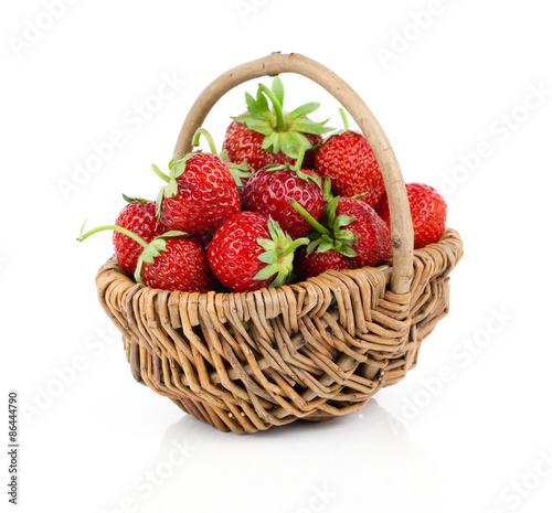 fresh Strawberries in basket on white background