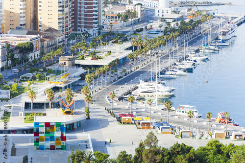 "View of promenade of Malaga. It is called ""Muelle Uno"". Leisure port."