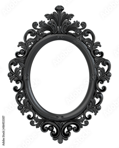 Black Oval Baroque Gold Frame. Clipping path. - Buy this stock ...