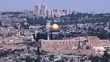 Landscape view of the Dome of the Rock Mosque on Temple Mount against mount of Olives in Jerusalem old city, Israel.