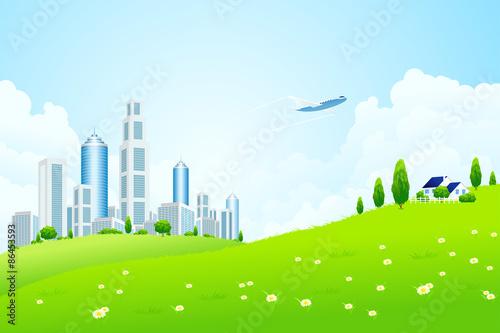 Papiers peints Avion, ballon Green landscape with city