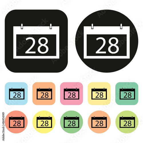 Calendar Days Icon.Calendar Icon 28 Days Date And Time Vector Buy This Stock