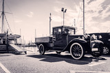 Front view of classic car. Old style. Black and white. - 86468578