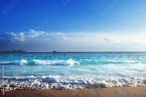 Fotomurales - seychelles beach in sunset time