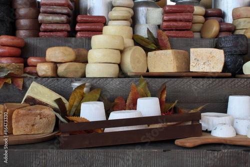 Poster Dairy products Formaggio, composizione formaggi italiani, composizione formaggi finti
