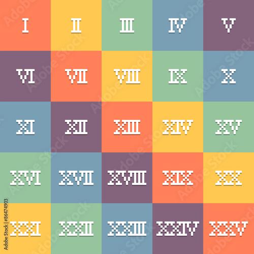 8-Bit Pixel Art Roman Numerals 1-25. EPS10 Vector - Buy this ...