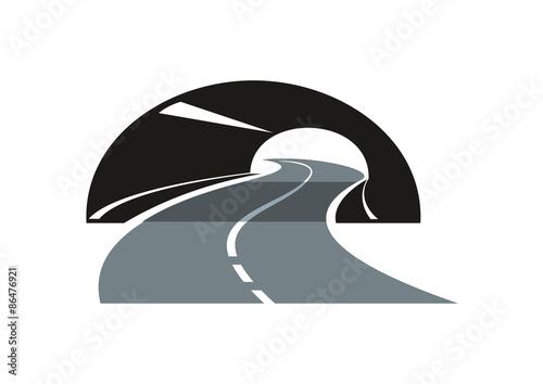 Ikona drogi wijąca się przez tunel