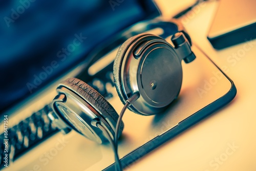 Headphones on Laptop