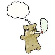 Cartoon Bear Smoking Marijuana