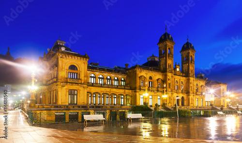 Keuken foto achterwand Palermo city hall in autumn evening. San Sebastian