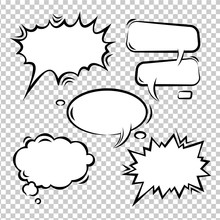 Vector Set Of Comic Bubbles Em...