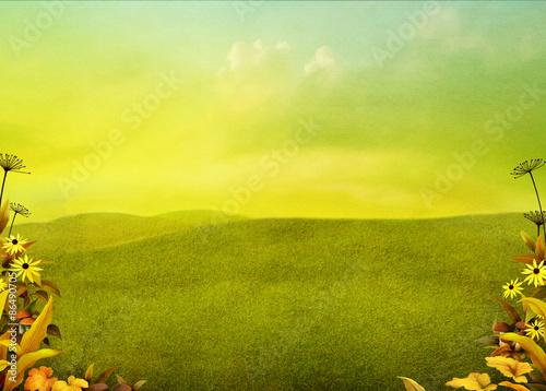 Tuinposter Zwavel geel Bright autumn landscape field background