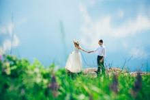 Couple On Blue Sky Background,...