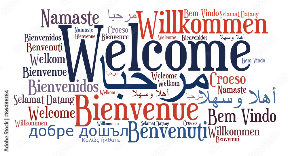Welcome phrase in different languages. Words cloud concept. Multilingual.