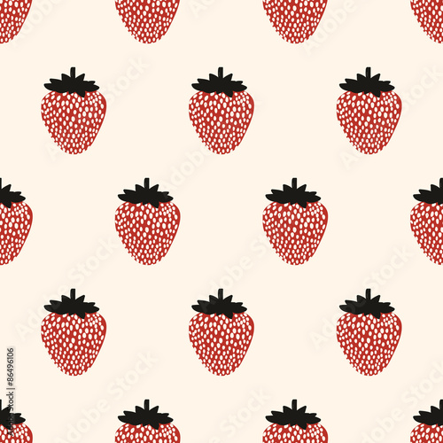 Cotton fabric seamless strawberry pattern