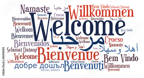 Welcome phrase in different languages Fototapeta