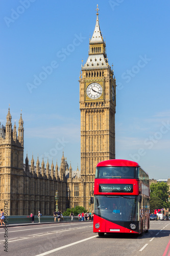 The Big Ben with a double decker bus in front