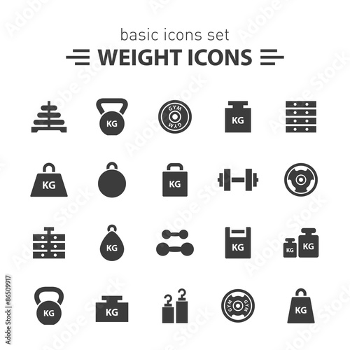 Fotografia  Weight icons set.