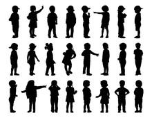 Big Set Of Children Standing Silhouettes 1