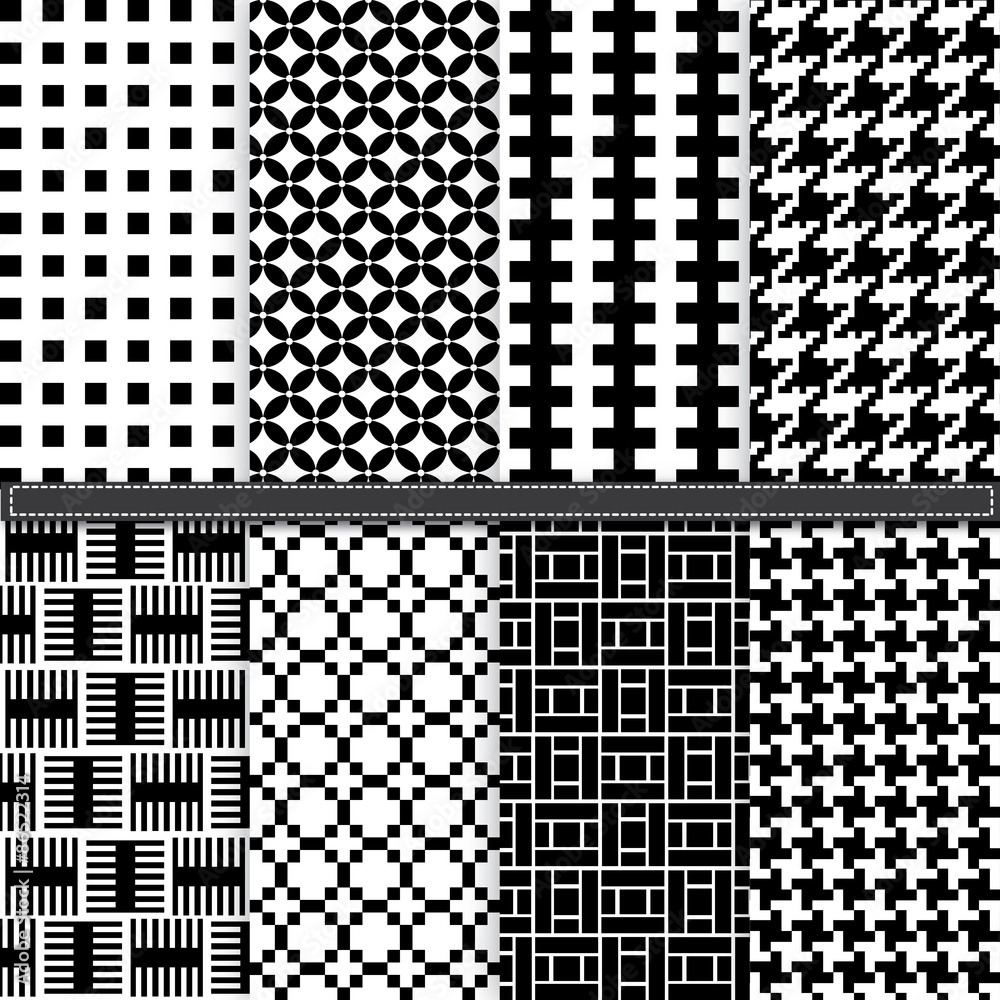 Photo  Geometric and Houndstooth seamless pattern set
