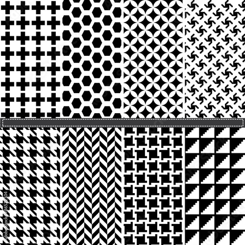 Houndstooth and Geometric seamless pattern set Canvas-taulu