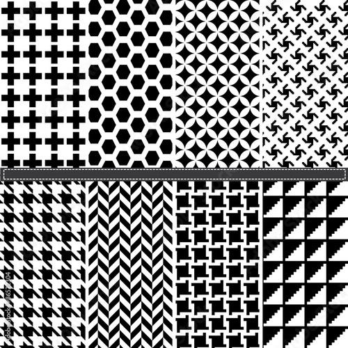 Fényképezés  Houndstooth and Geometric seamless pattern set
