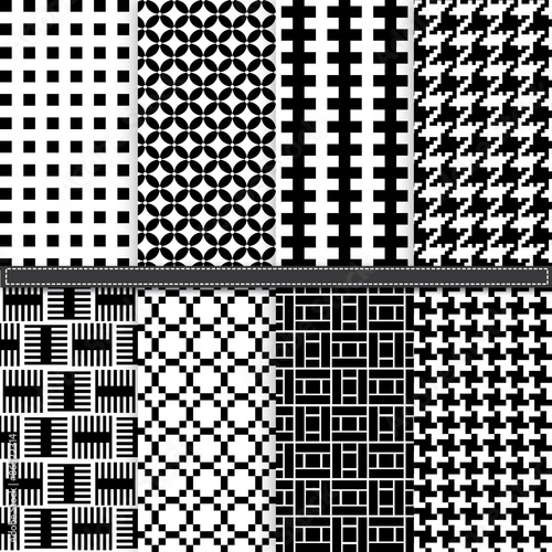 Photographie Geometric and Houndstooth seamless pattern set