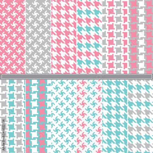 Photo  Houndstooth seamless pattern set