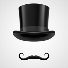Moustaches And Top Hat Victorian Aristocrat