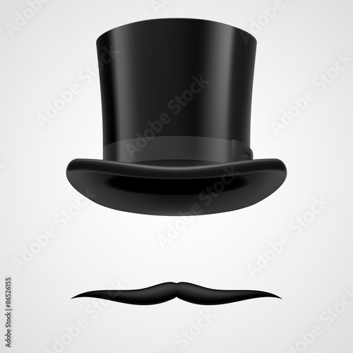 moustaches and stovepipe hat victorian gentleman Canvas Print