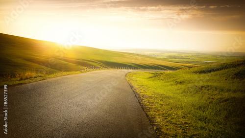 Fényképezés  Empty asphalt road on grassland