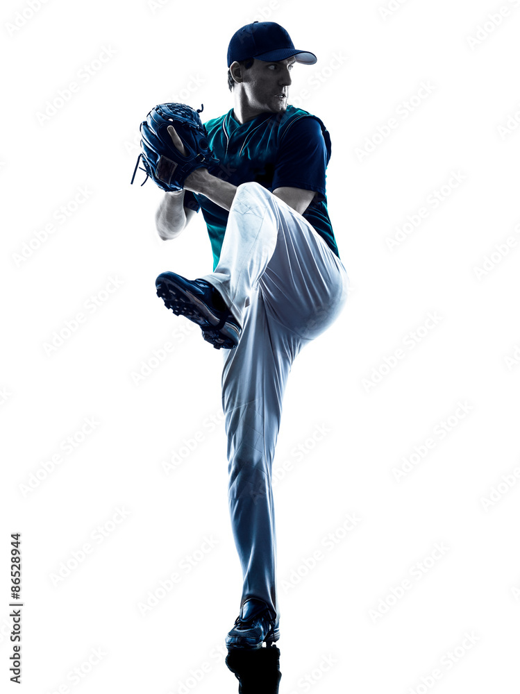 Fototapety, obrazy: man baseball player silhouette isolated