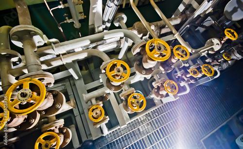 Staande foto Industrial geb. Ships valves, main engine - engineering interior - submarine