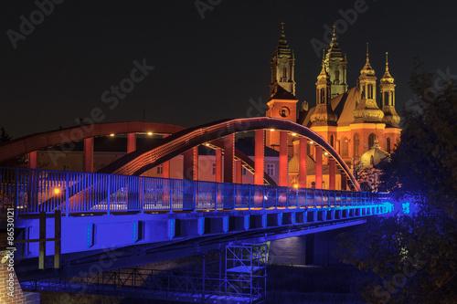 Poznań - widok mostu Jordana oraz katedry na Ostrowie Tumskim