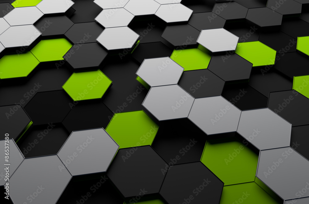 Rendering of Futuristic Surface with Hexagons.
