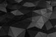 Abstract 3D Rendering of Low Poly Black Surface.