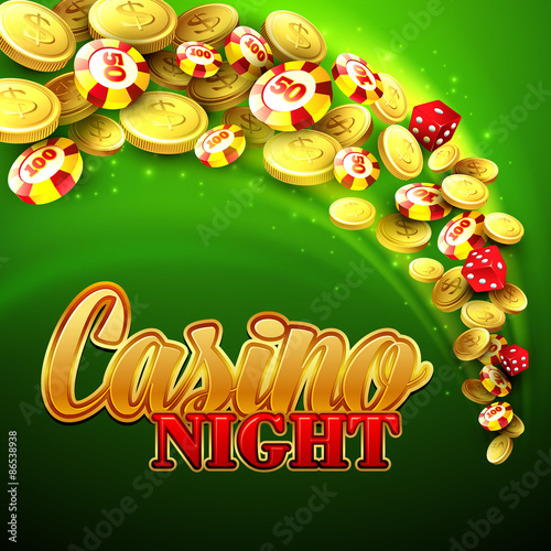 Photo  Casino background with chips, craps and money. Vector