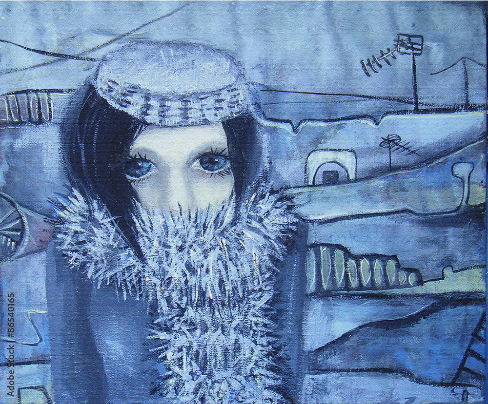 Monochrome abstract acrylic painting. Walk in the cold. Picture of blue-eyed girl with short hair in a black fur coat on an abstract background. Canvas. Interior decor.