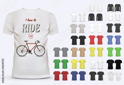 T-shirt template set for men and women