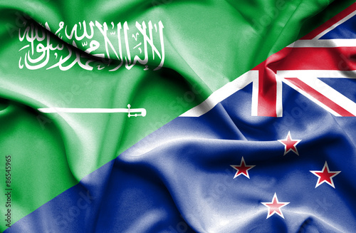 Poster Algérie Waving flag of New Zealand and Saudi Arabia
