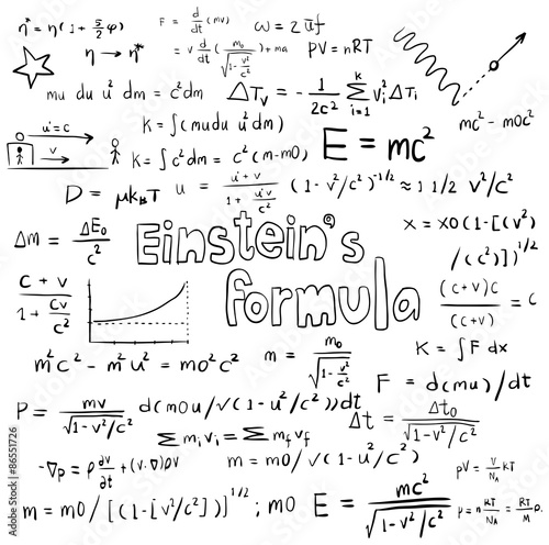 Albert Einstein theory and physics mathematical formula equation icon плакат