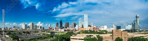 Autocollant pour porte Texas Partly Cloudy Dallas Skyline
