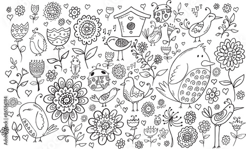 Montage in der Fensternische Cartoon draw Doodle Flowers and Birds Vector Set