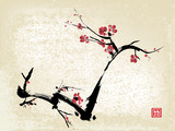 cherry blossom ink painting